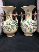 Fabulous Large Pair Of St.honorandeacute French Pottery Bean Vases 16.5 Inches H