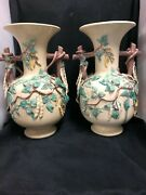 Fabulous Large Pair Of St.honorÉ French Pottery Bean Vases 16.5 Inches H