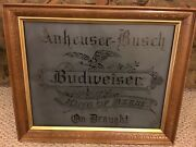 Budweiser Etched Glass Mirrors - King Of Beer - Victorian Glass