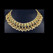 22k Gold Old Moughal Kundan Meena Pured In Pearl Beads Wedding Necklace