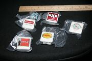 5 White Square Knobs With Advertising Motifs/new With Screws