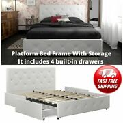 Twin Full Queen King Size Platform Bed Frame With Storage Drawer Faux Leather