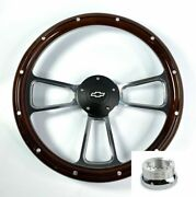 14 Billet Wood Steering Wheel Bowtie Horn And Adapter For 1974-1994 Chevy Truck