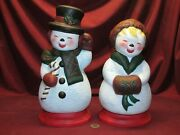 Ceramic Bisque Happy Snowman And Snowlady With Bases Hand Painted Finished