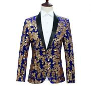 Mens Western-style Coats One Button Long Sleeve Sequins Shiny Studio Photos Coat