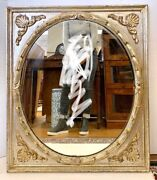Vintage French Oval Mirror In Square Frame Of Carved Silver Hand Painted Wood