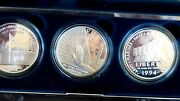 United States Mint War Memorial Proof Dollar Set Silver Beauties 1994 3 Coin Set