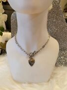 """Vintage Sterling Silver 925 Heart Locket Chain Pendant Charm Necklace 15"""" Long"""