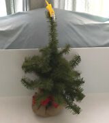 Vintage Artificial Small 22 Inch Christmas Tree In Burlap Bag Base Ribbon Tie