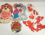 Vintage Valentine Mixed Lot Diecut Cling Decorations Hearts Puppy Cupids Bear