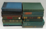 Vintage Decorative Library Display 15 Greens Blues Hardcover Book Lot
