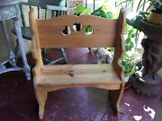 Toddler Hand Carved Wood Bench Settee Deacon Throne Figural Bunny Rabbit Shaker