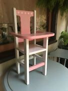 Rare Doll High Chair Hearts Charming Vintage Solid Wood White Pink Hand-crafted