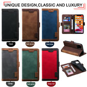 10pcs/lot Retro Stitching Wallet Flip Leather Case For Iphone 12 Samsung S20+