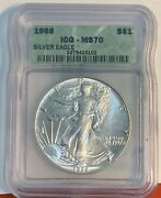 1988 American Silver Eagle Icg Ms70 Better Date@