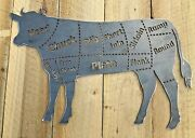 Cow Beef Meat Cuts Metal Sign Wall Art Cnc Sign Shed Decor Metal Plague