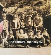 Original Wwii Japanese Photo Of Young Japanese Soldiers Group Collectible Antiqu
