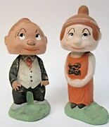 Rare 1920and039s Maggie And Jiggs Nodder Bobble Dolls Japan Paper Mache 2x