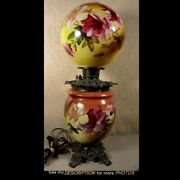 Antique 24-1/2h Kerosene Gone With The Wind Lamp Gwtw Hibiscus Decoration