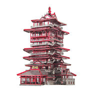 Piececool 3d Metal Puzzle Yuewang Tower Building Model Kits Assemble Jigsaw Toys