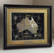 Australia Map 3-d 24 Kt Gold Plated Sydney Opera House Frame W/stand