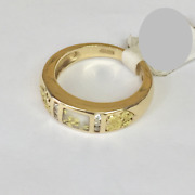 Ladies Natural Gold In Quartz Gold Nuggets And Diamonds Ring 14kt Y Gold R2213