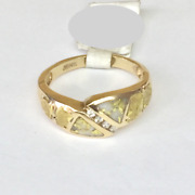 Ladies Natural Gold In Quartz Gold Nuggets And Diamonds Ring 14kt Y Gold R2215