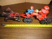 Fire Engine W/a 2 Horse Drawn Truck Wagon W/water Tank Made Of Cast Iron - Rare