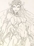 Red Sonja Original One Of A Kind Drawing Jamie Tyndall Signed 17 X 11