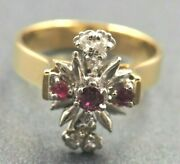 Womenand039s Ring 18ct Gold And Palladium Ruby And Diamonds Engagement Wedder Vintage