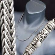 20 51cm Handmade Woven Braided Snake 925 Sterling Silver Mens Necklace Chain