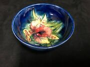 Moorcroft English Pottery Bowl-blue Ground With A Orchid Design C.1940s