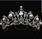 14k White Gold Over 925 Sterling Silver Vintage Style Pearl Tiara Head Jewelry