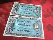 2 10 Zehn Mark Allied Occupation Notes Consecutive Numbers 1944 Ext Fine Cond