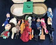 Antique Punch And Judy Hand Puppets W/book, Carved And Composition, Some Homemade