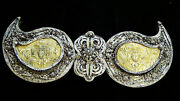 Antique Russian Imperial Silver And Gold Tone Filigree Double Eagles Woman Buckle