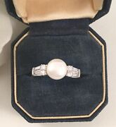 Vintage Jewelry Sterling Silver Pearl Ring White Sapphires Art Deco Jewellery