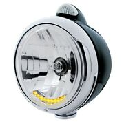 Black Guide 682-c Headlight H4 W/ 10 Amber Led And Led Signal - Clear Lens