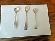 A Lot Of Three Antique Salt And Sugar Silver Spoons