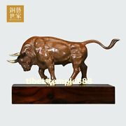 Pure Bronze Chinese Zodiac Wealth Fengshui Animal Ox Oxen Bull Cattle Sculpture
