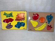 Lot Of 2 Vintage Sifo Wooden Puzzle Circa 1950's - Fruit And Vehicles Complete