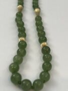 Vintage Green Jadite 19 Inch Bead Necklace Chinese