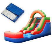 Graduation Party Pack -rainbow Premium Inflatable Water Slide With Pool And Blower