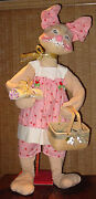 Vintage Rare 1981 Huge Store Display 4' 3 Tall Annalee Mrs Easter Bunny Doll