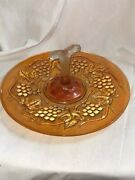 Imperial Glass Orange Marigold Carnival Grapes And Leaves Center Handle Tray