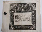 Death Ticket Funeral Invitation From 1710. Doctors Commons. Wood Cut.