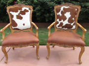 Pair Leather Cowhide Arm Chair Carved French Louis Xv Style Fire Side Hyde