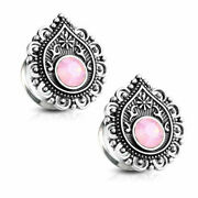 Pink Opalite Double Flared Tunnels Stone Centered Tear Drop Filigree