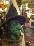 Folk Art Witch Head Scary Haunted House Halloween Stage Prop Hand Made