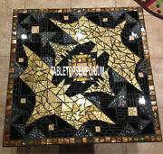 42 Decorative Marble Breakfast Table Mosaic Gemstone Inlay Outdoor Decor H4046a